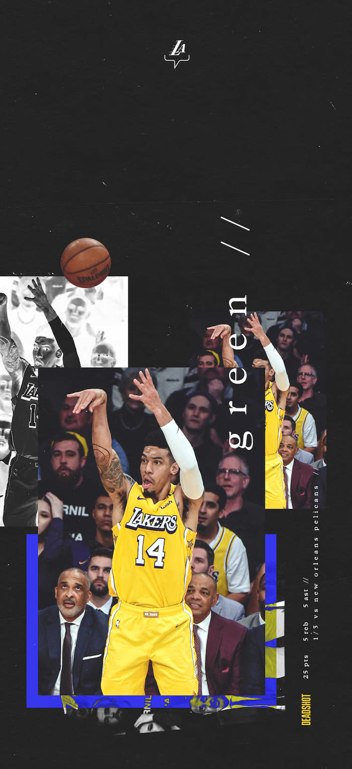 danny green wallpaper lakers background photo collage of him shooting the ball on black background