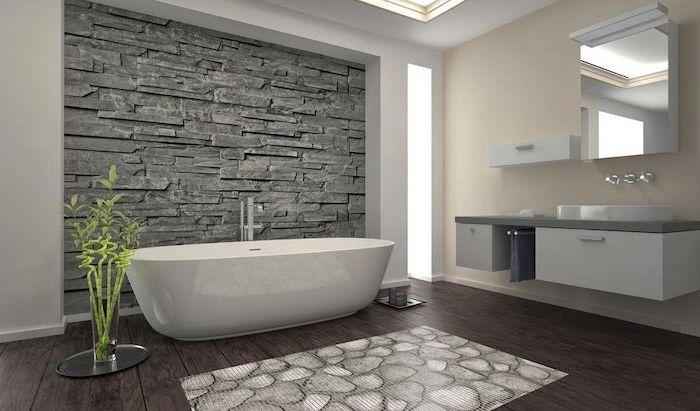 dark wood floor bathroom shower tile ideas stone like 3d tiles behind white bathtub floating vanity
