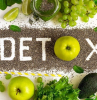 detox written with chia seeds apples avocado grapes lime spinach parsley mint green salad on the side how to detoxify your body