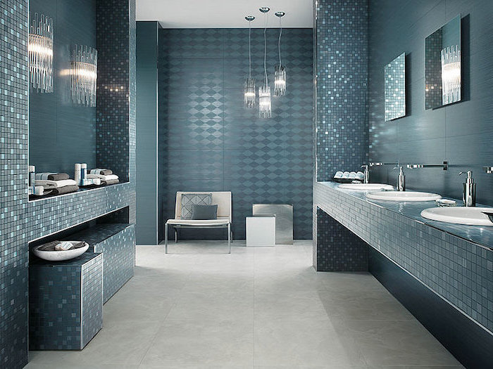 different dark green turquoise tiles with different textures mosaic accents tile shower ideas for small bathrooms