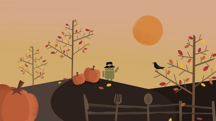 digital drawing of android logo with pilgrim hat trees standing on a field thanksgiving wallpaper with trees and pumpkins