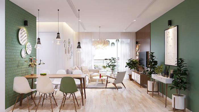 dining room and living room open space what is scandinavian green walls wooden table white and green chairs