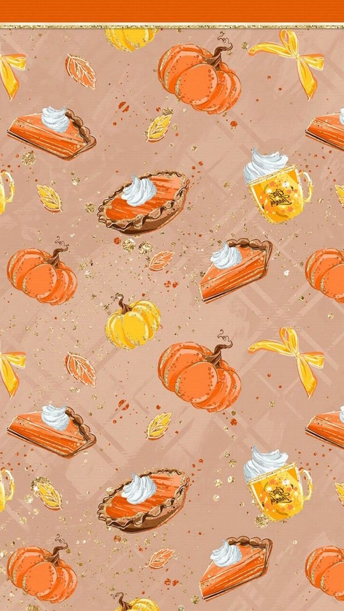 drawings of pumpkins lattes pumpkin pies on light purple background free thanksgiving wallpaper