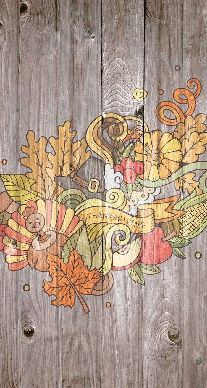 drawings of turkeys pumpkins apples fall leaves thanksgiving written under them cute thanksgiving backgrounds wooden background