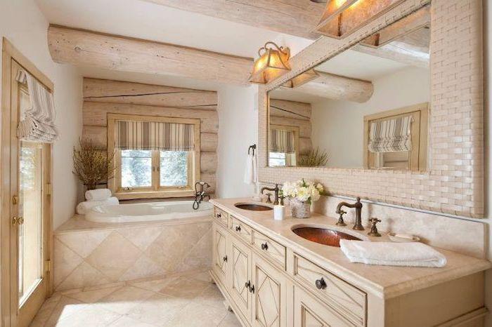 exposed wood beams on the ceiling modern farmhouse bathroom vanity tiled floor wooden vanity with two sinks large mirror above it