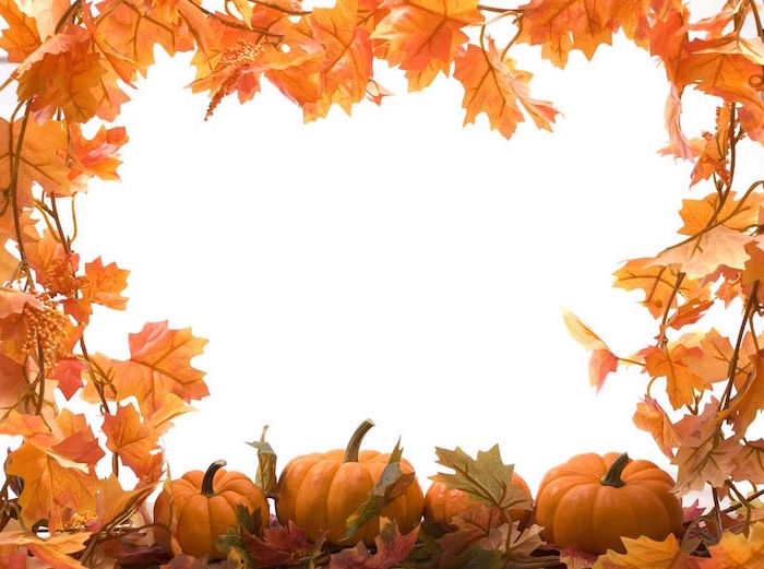 fall leaves and pumpkins in the corners of the photo thanksgiving iphone wallpaper white background in the middle