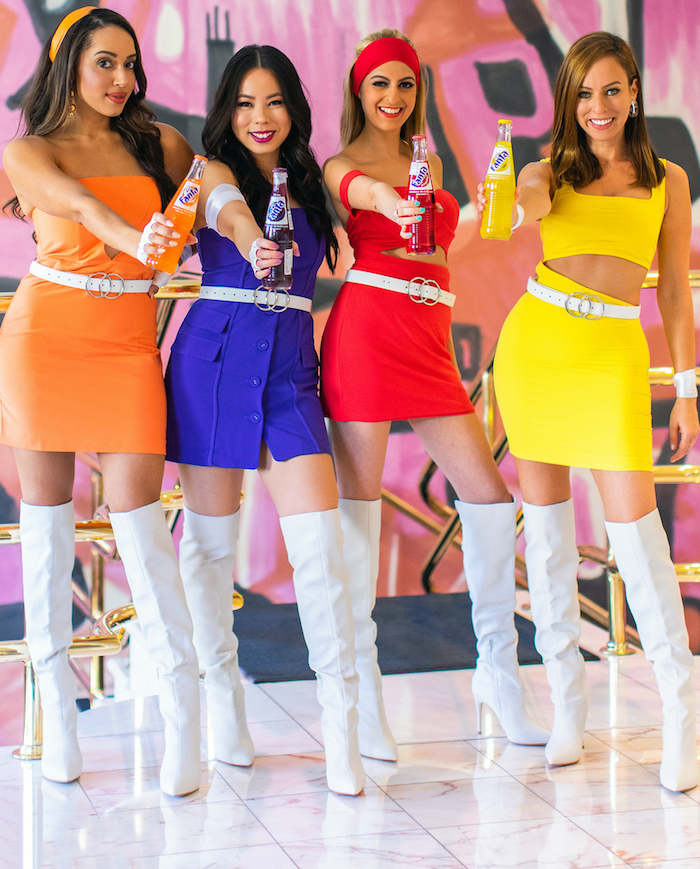 fanta flavours funny group halloween costumes women dressed with orange blue red yellow dresses white knee high boots