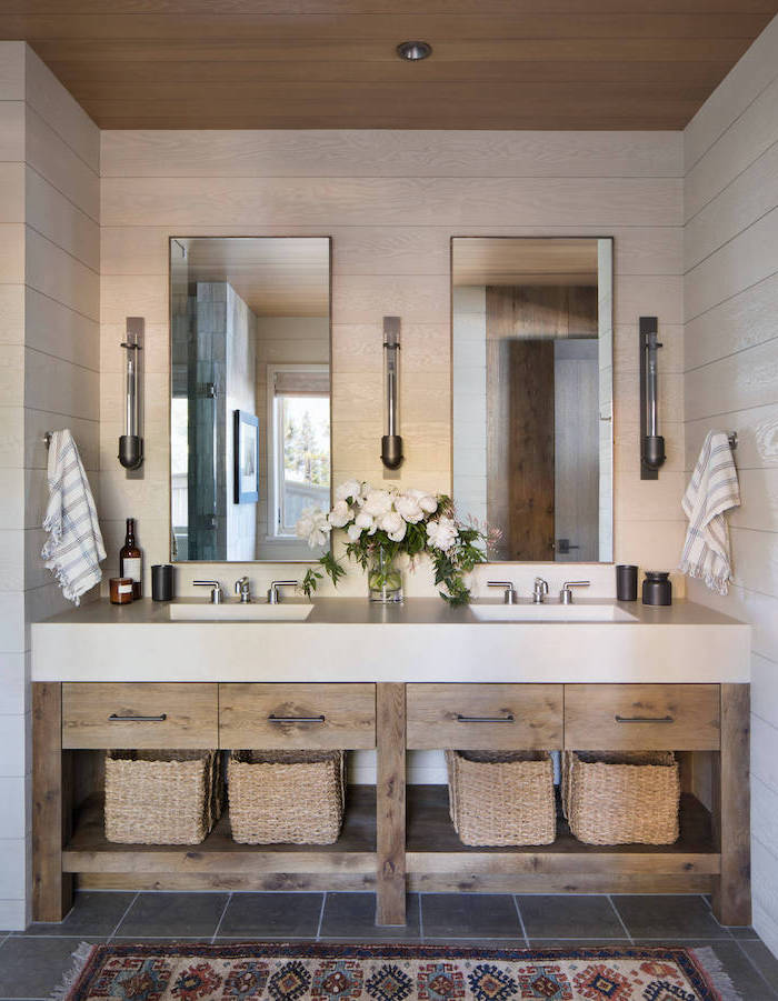farmhouse bathroom decor vanity with wooden shelves open shelving two sinks and mirrors shiplap on the wall
