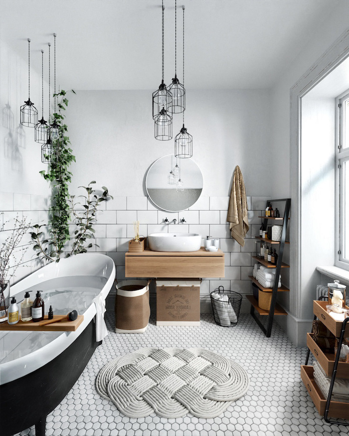 farmhouse decor in bathroom with scandinavian interior design black bathtub floating wooden vanity white honeycomb tiles on the floor