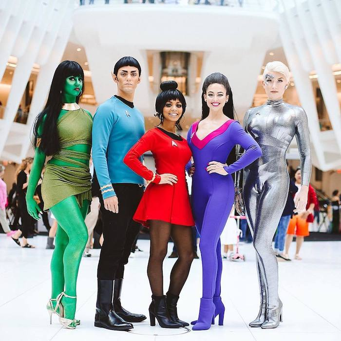 five people dressed as characters from star trek funny group halloween costumes cosplay