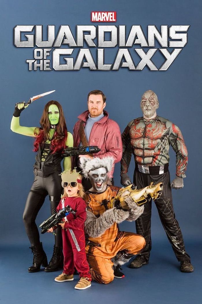 five people dressed as the characters from guardians of the galaxy trio halloween costumes gamora quill rocket groot drax