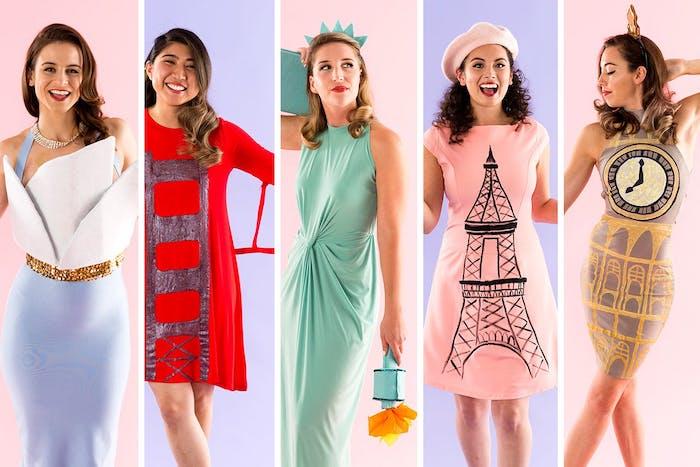 five women dressed as different landmarks funny diy halloween costumes sydney opera golden gate bridge statue of liberty eiffel tower big ben