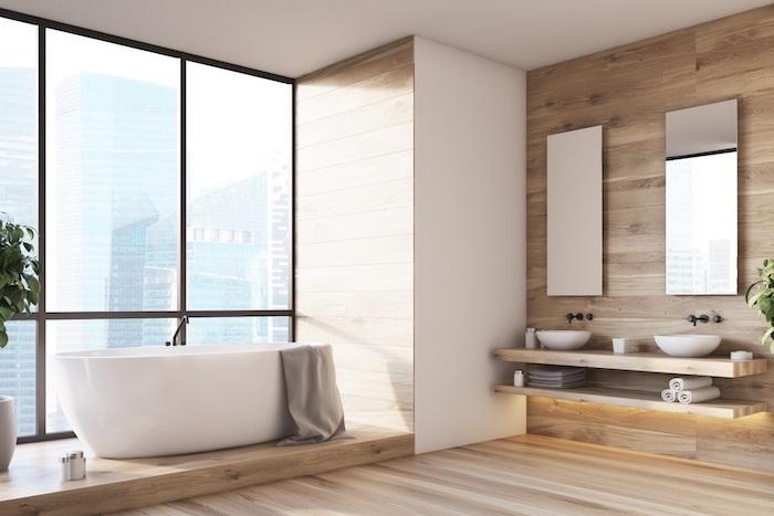 floating wooden vanity bathroom floor tile ideas wooden walls and floor large window behind the bathtub
