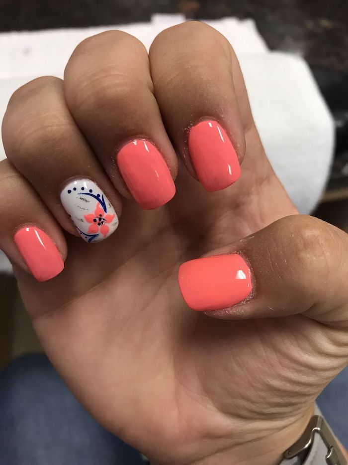 flower decoration on ring finger acrylic nail ideas orange nail polish on short nails with squoval shape