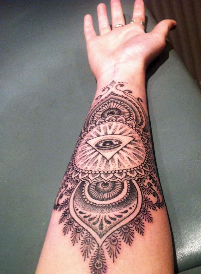 forearm tattoo with all seeing eye in the middle tattoo ideas with meanings mandala shapes around it