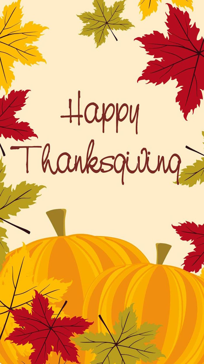 free thanksgiving wallpaper happy thanksigivng writte in orange in the middle drawings of pumpkins fall leaves around it