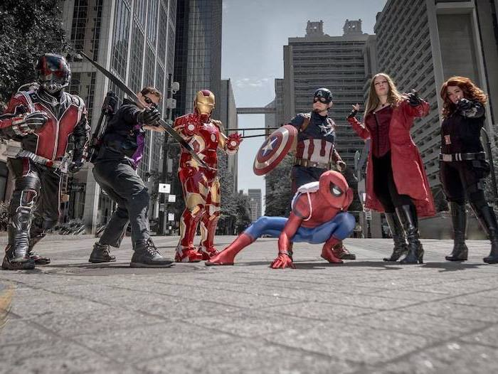 funny group halloween costumes seven people dressed as the avengers ant man spider man hawkeye iron man caprain america black widow scarlet witch