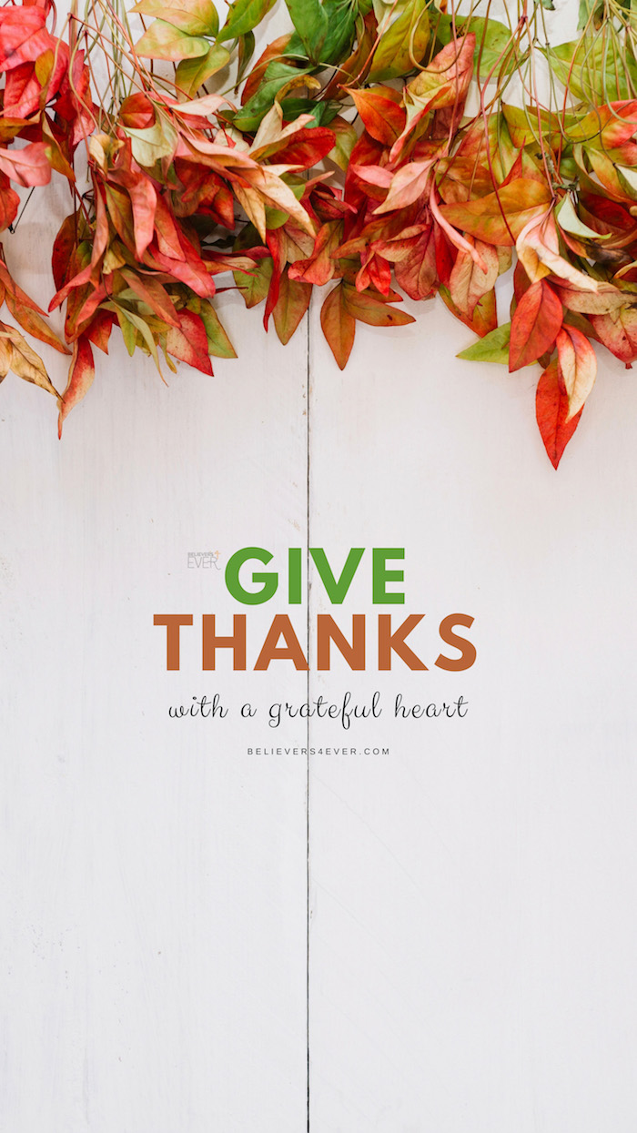give thanks with a grateful heart written in the middle thanksgiving wallpaper hd fall leaves above it