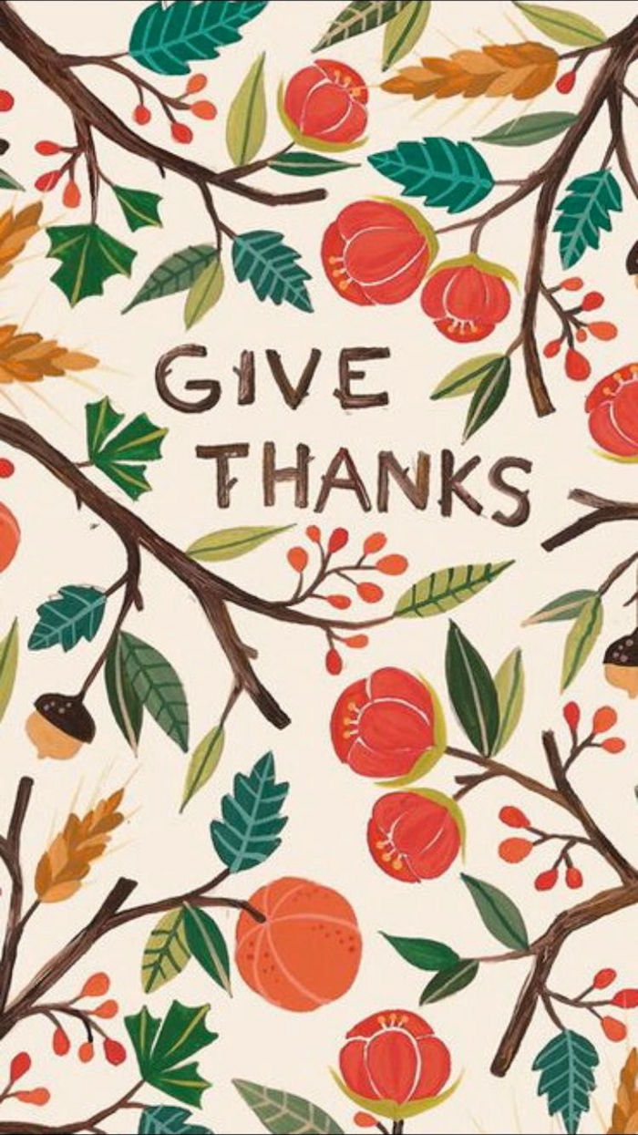 give thanks written in the middle of white background cute thanksgiving backgrounds surrounded by drawings of fall flowers leaves branches