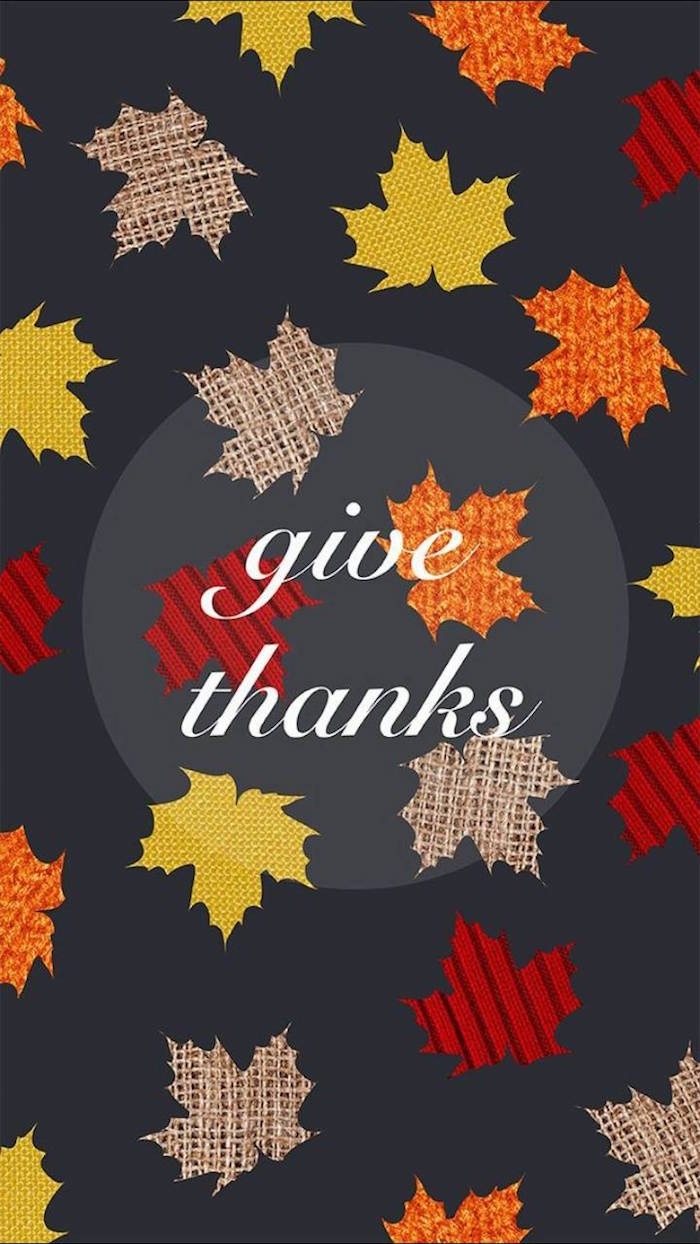 give thanks written with white cursive font in the middle background thanksgiving wallpaper drawings of orange yellow brown fall leaves