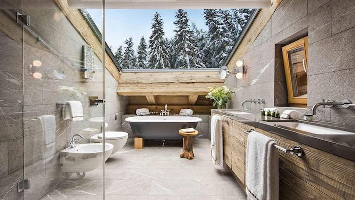 glass ceiling above bath with tiled walls and floor modern farmhouse bathroom vanity floating wooden vanity with two sinks