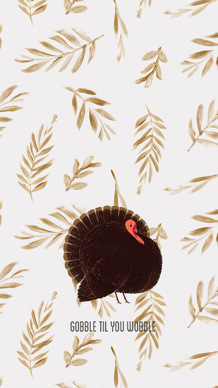 gobble till you wobble written under drawing of turkey cute thanksgiving backgrounds white background with drawings of golden leaves