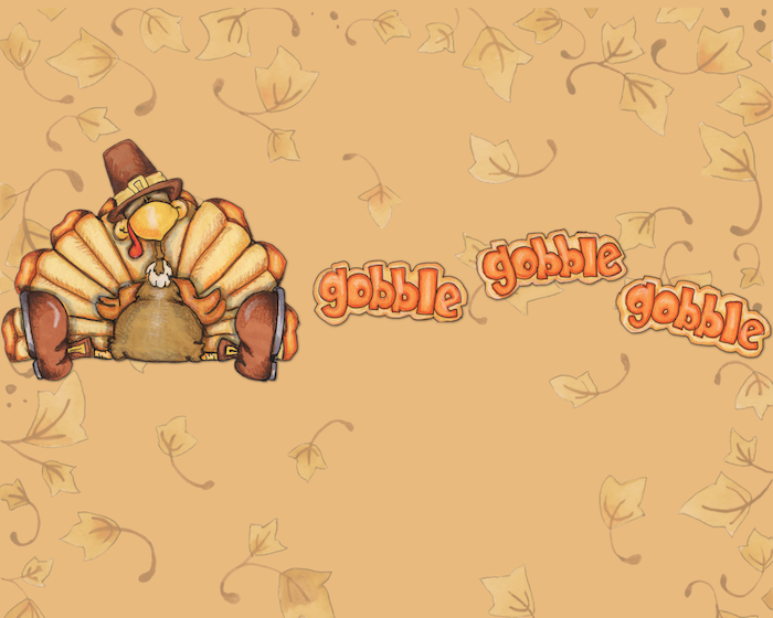 gobble written three times in orange next to drawing of turkey sitting cute thanksgiving wallpaper yellow background