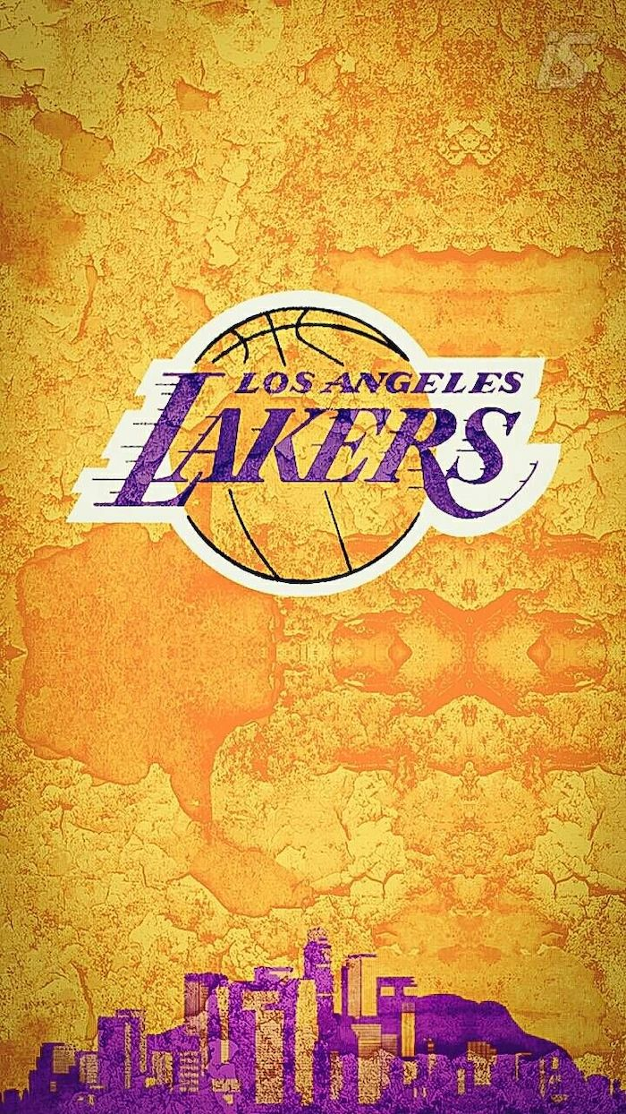 gold background purple drawing of los angeles skyline at the bottom nba wallpaper iphone lakers logo in the middle