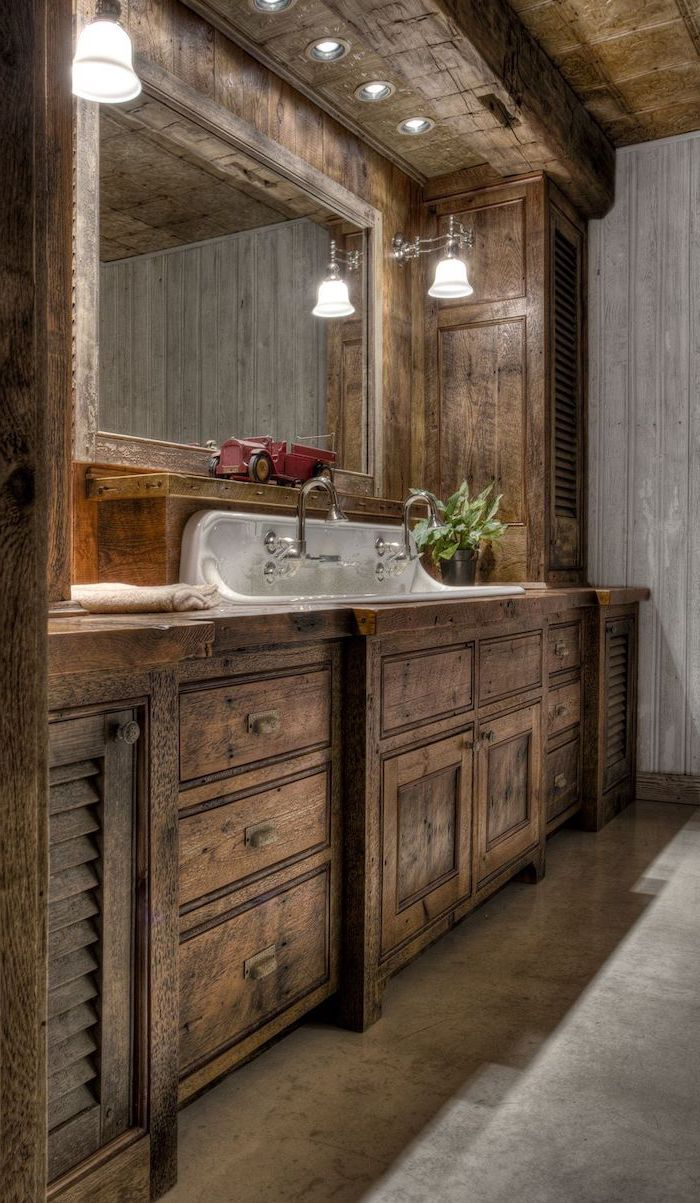 granite floor farmhouse bathroom wall decor wooden vanity with cabinets sink with two faucets large mirror