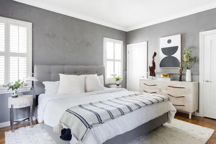 granite gray walls wooden vanity white carpet under the bed on wooden floor what is scandinavian