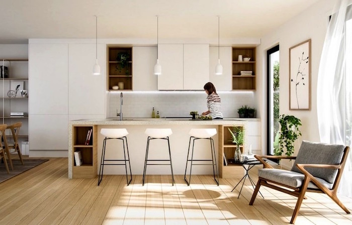 gray armchair on wooden floor what is scandinavian kitchen with kitchen island in all white with open shelving