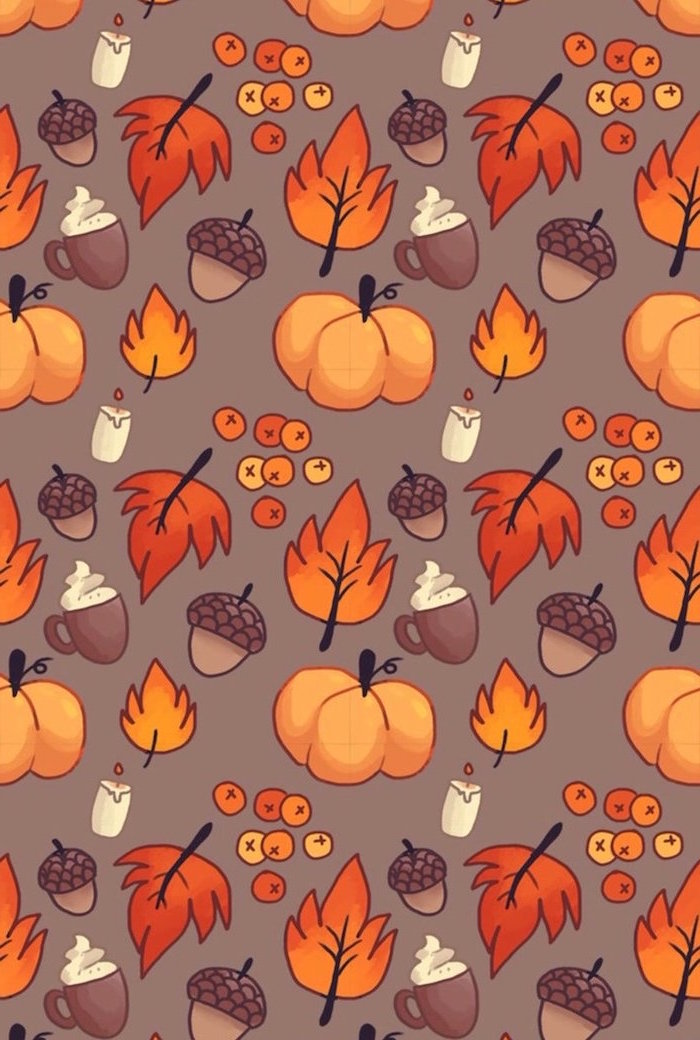 gray background thanksgiving desktop backgrounds drawings of cranberries fall leaves pumpkin spice lattes pumpkins candles hazelnuts