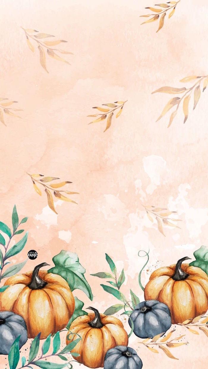 gray orange pumpkins surrounded by green golden leaves thanksgiving desktop backgrounds