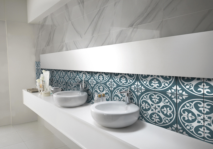green and white tiles with print as accent behind the sinks marble tiles on the top tile shower ideas for small bathrooms white tiles on the floor