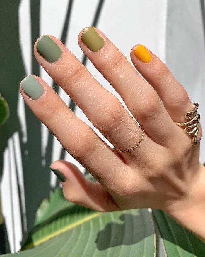 green and yellow matte nail polish in different shades simple nail designs short squoval nails