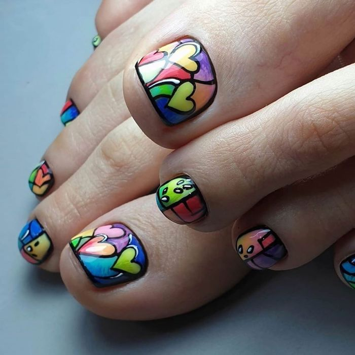 green orange purple yellow red blue hearts separated with black lines acrylic nail ideas colorful pedicure