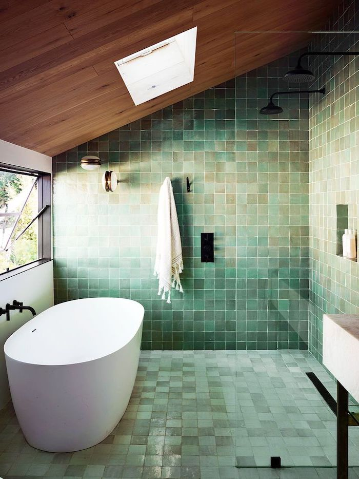 green turquoise brown square tiles on the walls and floor bathroom shower tile ideas wooden ceiling white bathtub