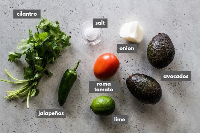 guacamole ingredients mexican food recipes cilantro salt onion avocados roma tomato jalapenos lime