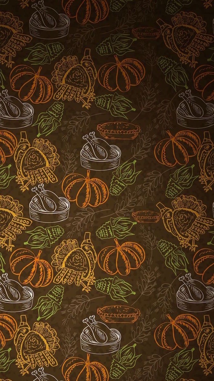 happy thanksgiving wallpaper brown background drawings of turkeys pumpkins corn cooked turkey