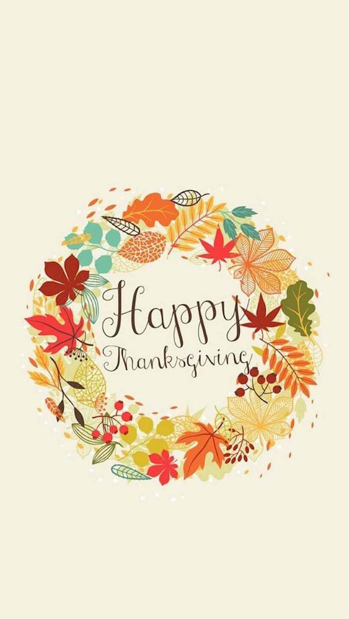 happy thanksgiving written in brown cursive font background thanksgiving wallpaper fall leaves wreath around it on white background