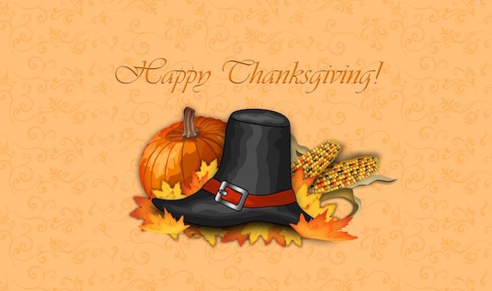 happy thanksgiving written in orange cursive above drawing of pilgrim hat corn pumpkin fall leaves thanksgiving desktop wallpaper orange background