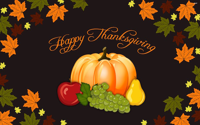 happy thanksgiving written in orange cursive font on brown background thanksgiving wallpaper drawings of pumpkin apple grapes pear fall leaves