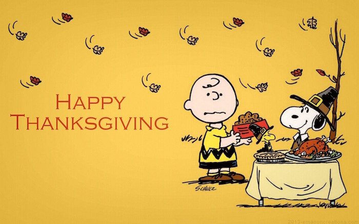 happy thanksgiving written next to drawing of charlie brown eating thanksgiving dinner with snoopy thanksgiving iphone wallpaper yellow background
