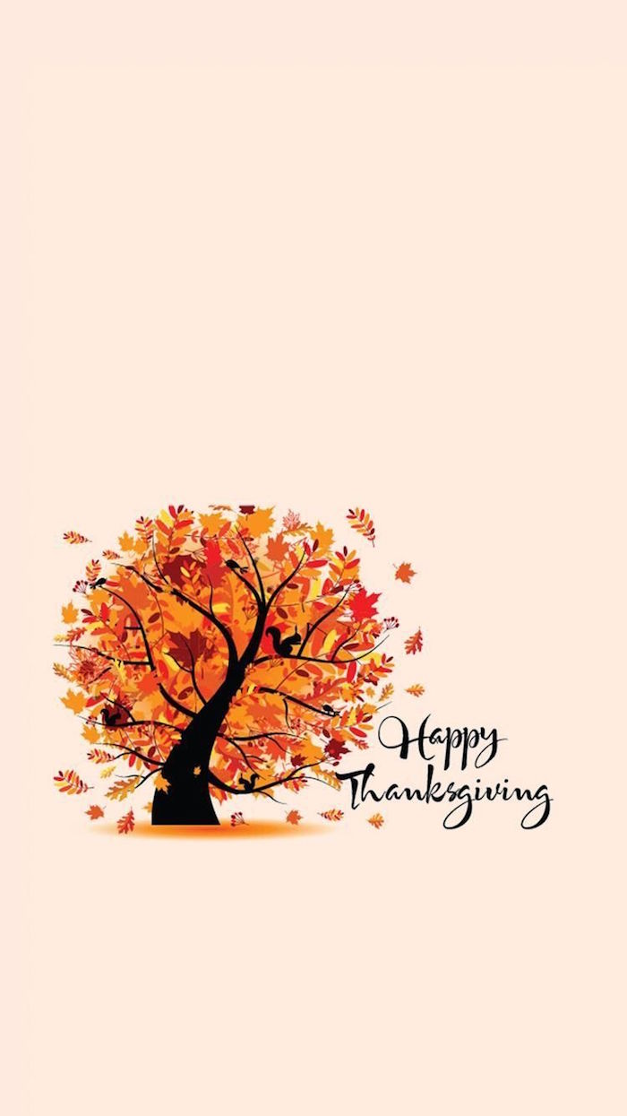 happy thanksgiving written with black cursive font next to drawing of tree with fall leaves in orange yellow free thanksgiving wallpaper white background