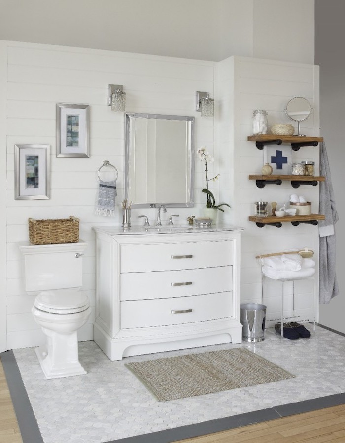 honeycomb ceiling with rug in front of toilet and vanity rustic bathroom decor white shiplap on the walls wooden shelves