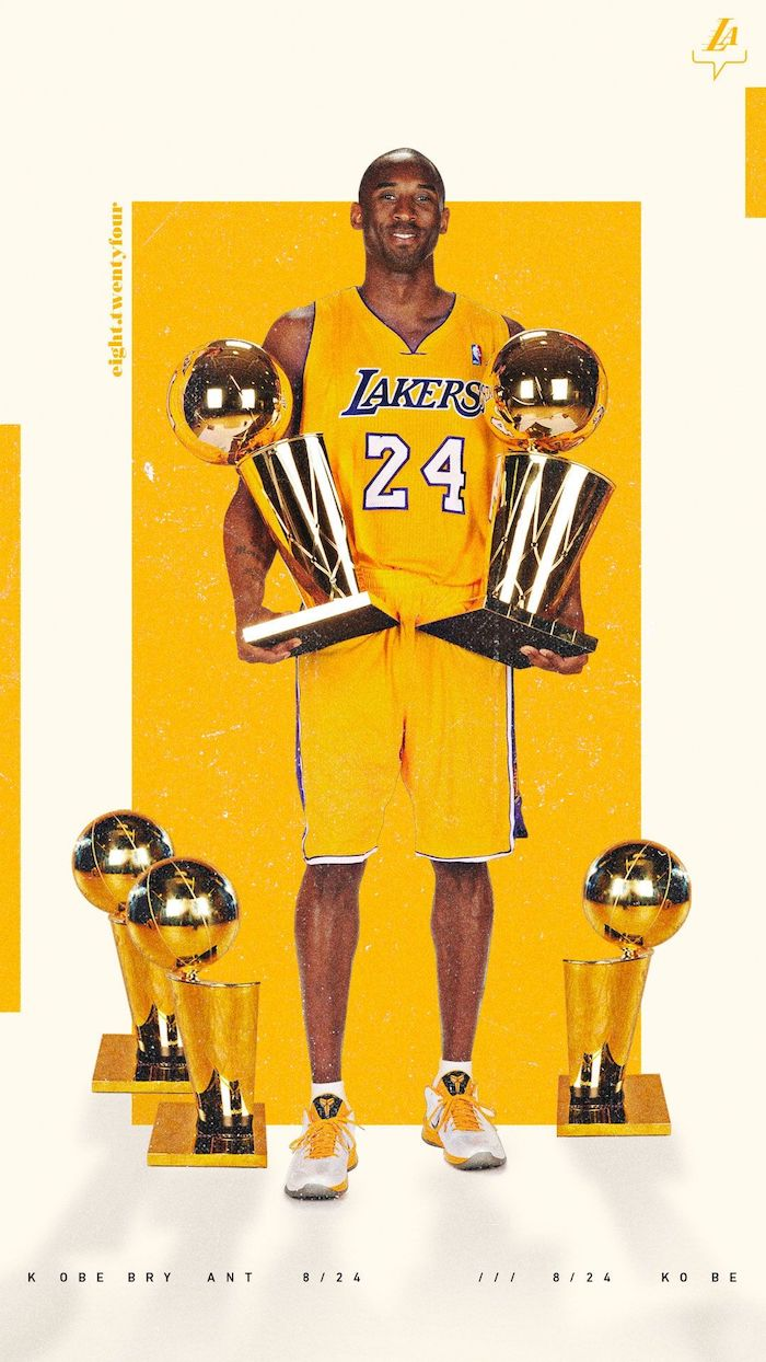 kobe bryant posing with five larry obrien trophies nba wallpaper iphone wearing gold lakers uniform