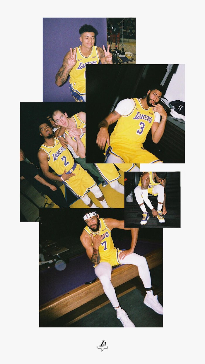 lakers background kyle kuzma anthony davis quinn cook alex caruso lebron james javale mcgee photo collage