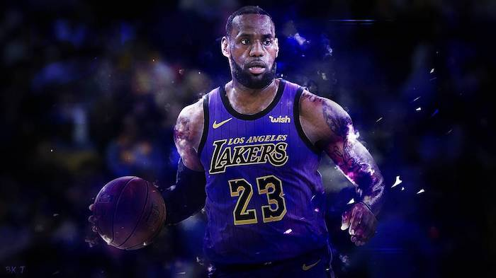 lebron james on the court holding a basketball wearing purple lakers uniform cool basketball wallpapers dark background