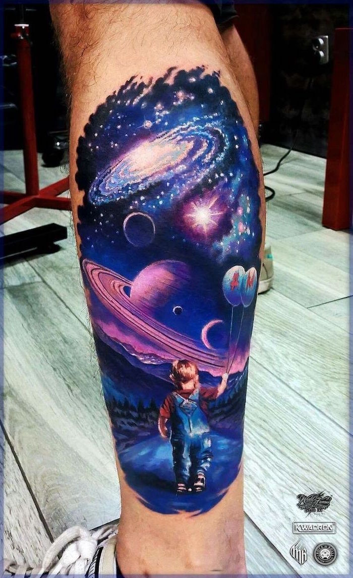 leg watercolor tattoo back tattoos for men boy holding balloons galaxy sky with planets above him