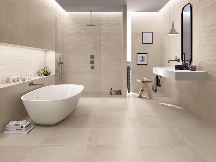light beige tiles on the walls and floor bathroom shower tile ideas 3d tiles as accent in the shower floating vanity